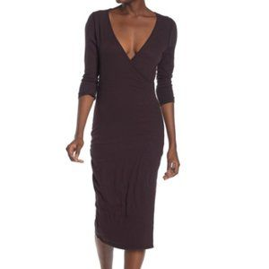 James Perse 3/4 Sleeve Surplice Midi Dress